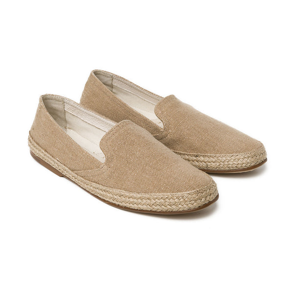 Daniela Beige Linen Espadrilles | La Portegna UK | Handmade Leather Goods | Vegetable Tanned Leather