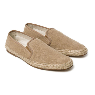 Dani Linen Tan Espadrilles | La Portegna UK | Handmade Leather Goods | Vegetable Tanned Leather