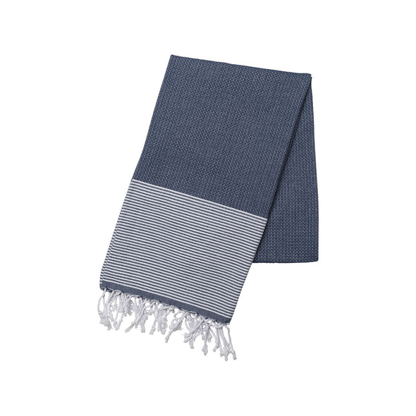 Cotton Towel Navy and White | La Portegna UK | Handmade Leather Goods | Vegetable Tanned Leather