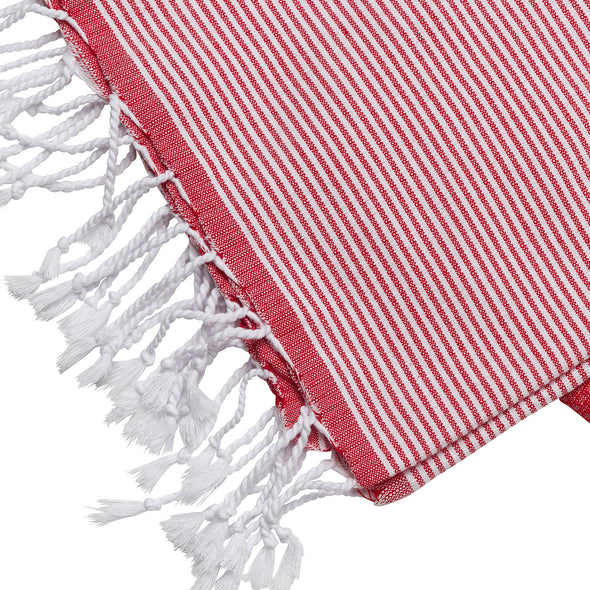 Cotton Towel Red and White | UK | La Portegna UK | Handmade Leather Goods | Vegetable Tanned Leather
