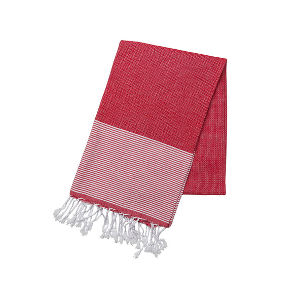 Cotton Towel Red and White | La Portegna UK | Handmade Leather Goods | Vegetable Tanned Leather
