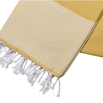 Cotton Towel Yellow and White | UK | La Portegna UK | Handmade Leather Goods | Vegetable Tanned Leather