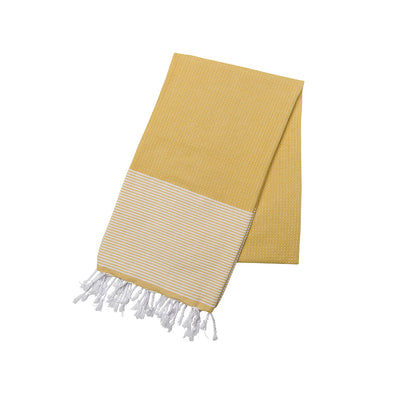 Cotton Towel Yellow and White | La Portegna UK | Handmade Leather Goods | Vegetable Tanned Leather