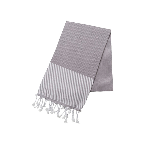 Cotton Towel Grey and White | La Portegna UK | Handmade Leather Goods | Vegetable Tanned Leather
