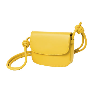 Lucia Mini Mustard | Shoulder Bags UK | La Portegna UK | Handmade Leather Goods | Vegetable Tanned Leather
