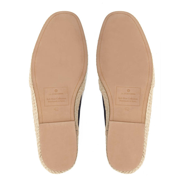 Espadrilles Men - Leather Sole Shoes - Suede Navy - Sole