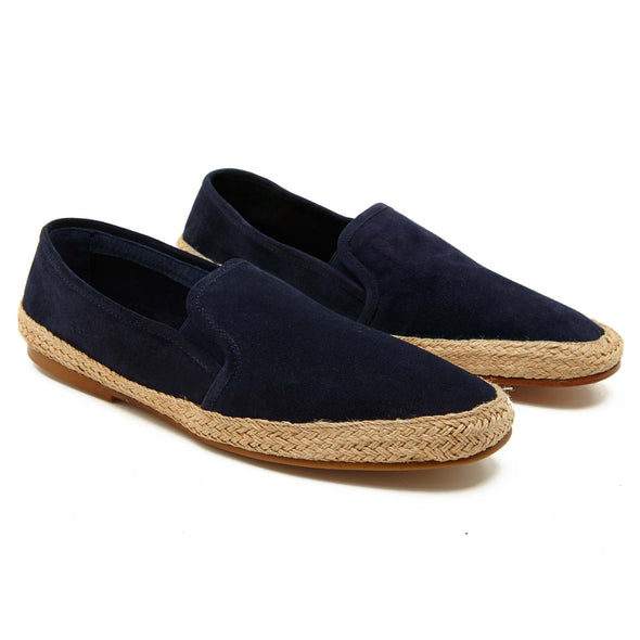 Espadrilles Men - Leather Sole Shoes - Suede Navy - Overview