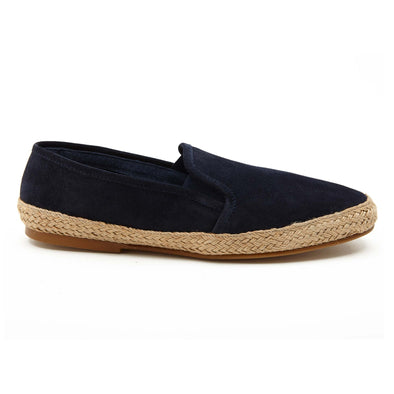 Espadrilles Men - Leather Sole Shoes - Suede Navy - Right