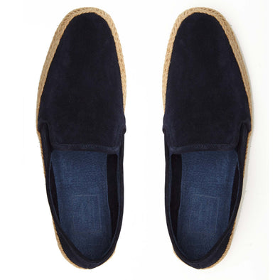 Espadrilles Men - Leather Sole Shoes - Suede Navy - Top