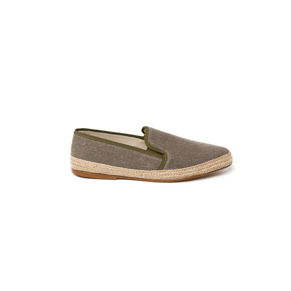 Dani Linen Khaki Espadrilles | La Portegna UK | Handmade Leather Goods | Vegetable Tanned Leather