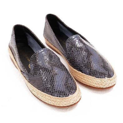 Women Espadrilles - Leather Sole Shoes - Blue Python - Top