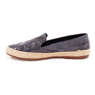 Women Espadrilles - Leather Sole Shoes - Blue Python - Left