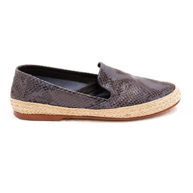 Women Espadrilles - Leather Sole Shoes - Blue Python - Right