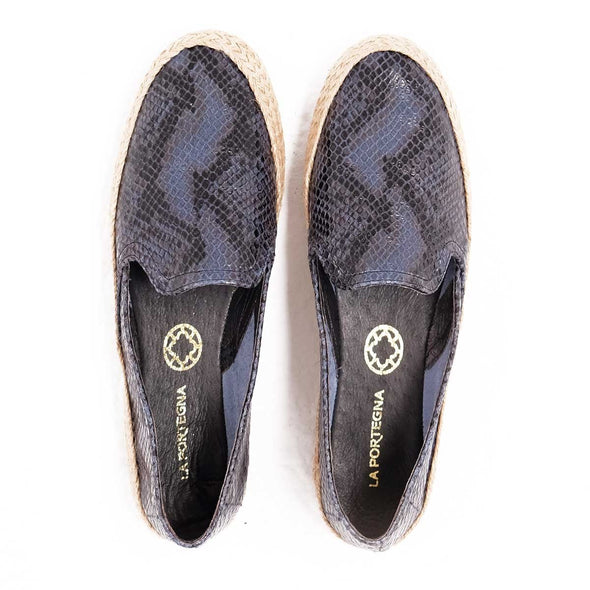 Women Espadrilles - Leather Sole Shoes - Blue Python - Very Top