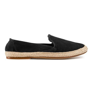 Women Espadrilles - Leather Sole - Nappa Black - Right