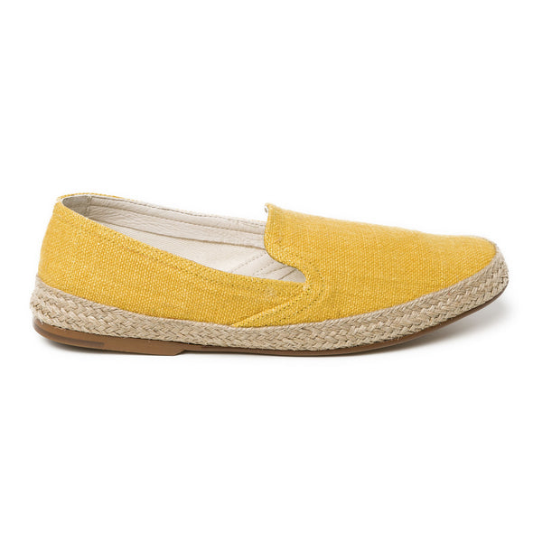 Daniela Mustard Linen Espadrilles | La Portegna UK | Handmade Leather Goods | Vegetable Tanned Leather