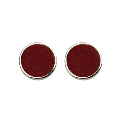 Douglas Burgundy Cufflinks | La Portegna UK | Handmade Leather Goods | Vegetable Tanned Leather
