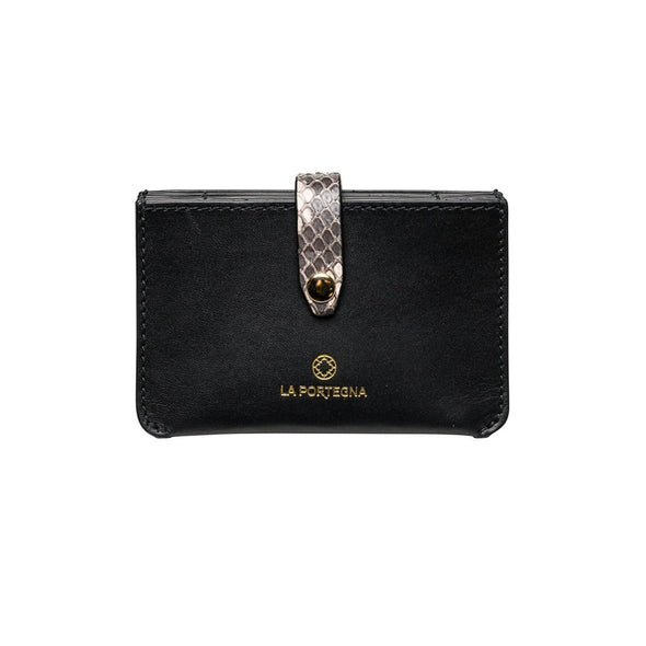 Eleonora Black Python | UK | La Portegna UK | Handmade Leather Goods | Vegetable Tanned Leather