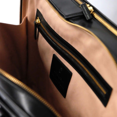 Leather Briefcase | Leather Laptop Bag | Fat Carter Black - Zip Closure