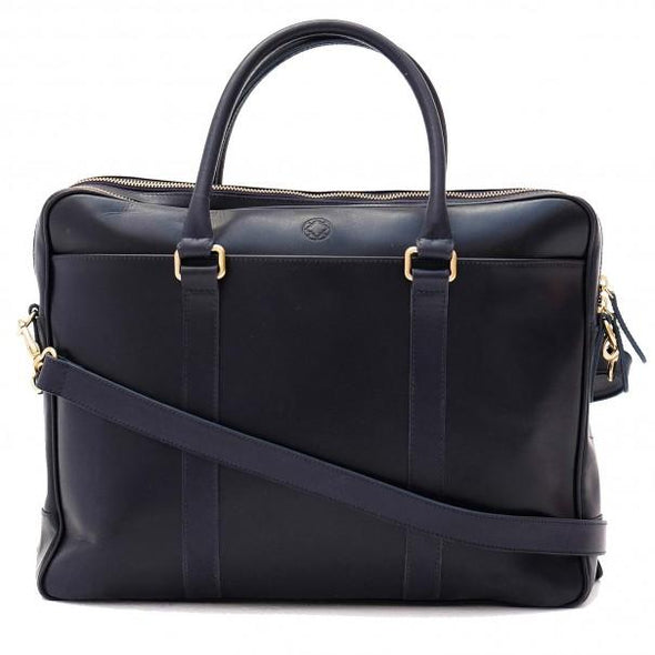 Leather Briefcase | Leather Laptop Bag | Fat Carter Navy - Shoulder Straps