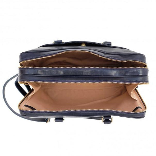 Leather Briefcase | Leather Laptop Bag | Fat Carter Navy - Top Open