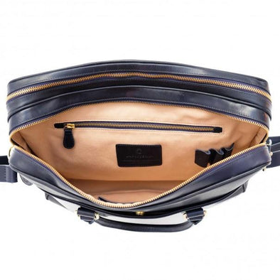 Leather Briefcase | Leather Laptop Bag | Fat Carter Navy - Top View