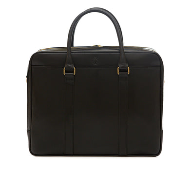 Fat Carter Black Briefcases | La Portegna UK | Handmade Leather Goods | Vegetable Tanned Leather