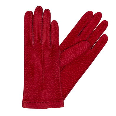 Exotic Red Gloves | La Portegna UK | Handmade Leather Goods | Vegetable Tanned Leather