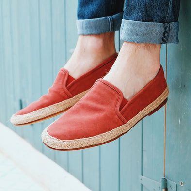 Espadrilles Men - Leather Sole Shoes - Suede Burgundy - Style