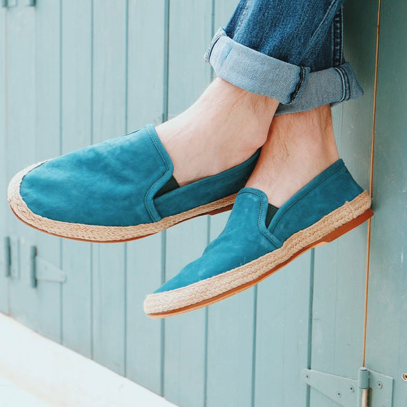 Dani Nappa Leather Green Espadrilles | La Portegna UK | Handmade Leather Goods | Vegetable Tanned Leather