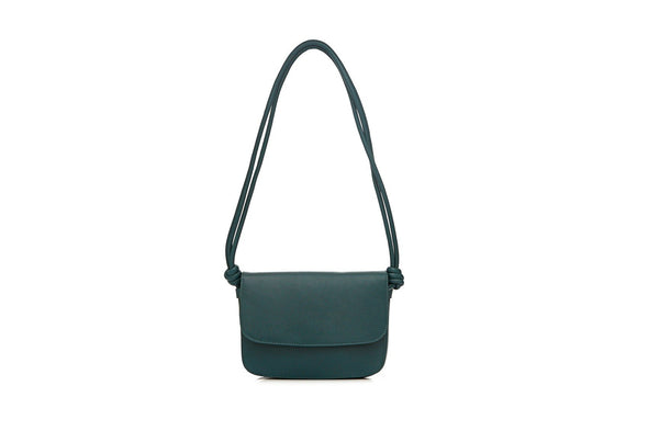 Leather Crossbody Bag | Lucia Petrol - Hanging