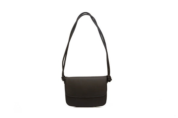 Leather Crossbody Bag | Lucia Black - Hanging