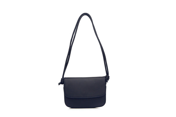 Lucia Navy Shoulder Bags | La Portegna UK | Handmade Leather Goods | Vegetable Tanned Leather
