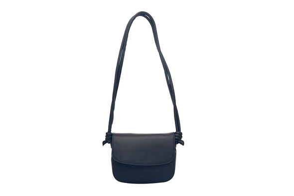 Leather Crossbody Bag | Lucia Mini Navy - Hanging