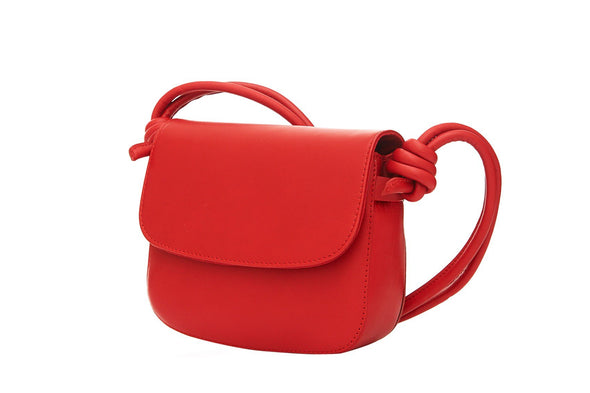 Lucia Mini Red Shoulder Bags | La Portegna UK | Handmade Leather Goods | Vegetable Tanned Leather