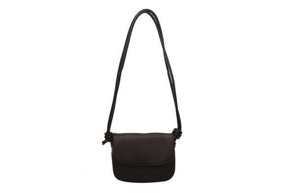 Leather Crossbody Bag | Lucia Mini Black - Hanging