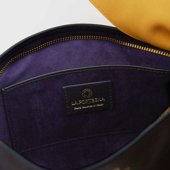 Marta Clutch Large Navy Leather Handbags | La Portegna UK | Handmade Leather Goods | Vegetable Tanned Leather
