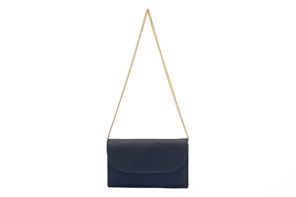 Lucia Navy/White Chain | Purses UK | La Portegna UK | Handmade Leather Goods | Vegetable Tanned Leather