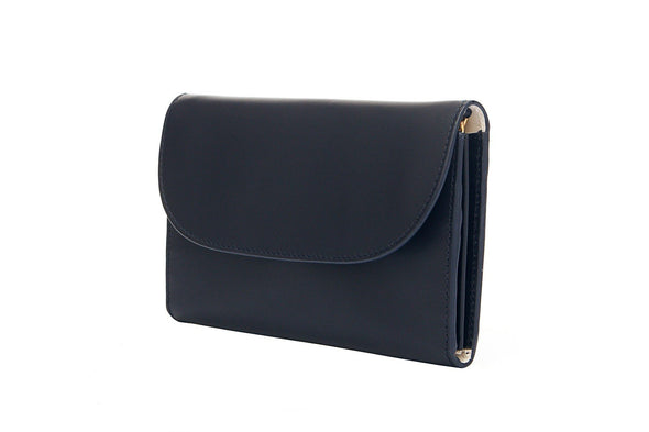 Lucia Navy Chain Purses | La Portegna UK | Handmade Leather Goods | Vegetable Tanned Leather