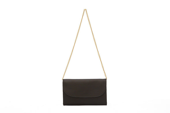 Leather Crossbody Bag | Purses | Lucia Black Chain - Hanging
