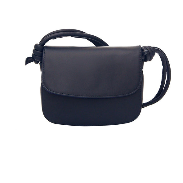 Lucia Mini Navy Shoulder Bags | La Portegna UK | Handmade Leather Goods | Vegetable Tanned Leather