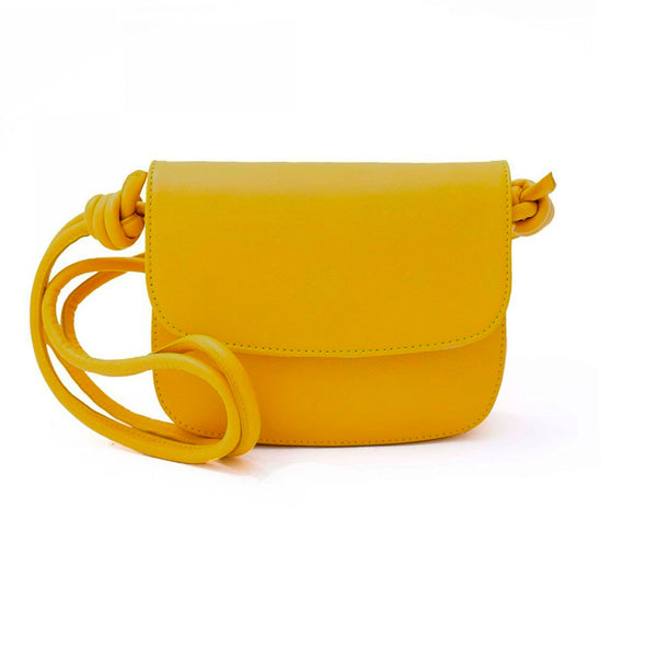 Lucia Mini Mustard Shoulder Bags | La Portegna UK | Handmade Leather Goods | Vegetable Tanned Leather