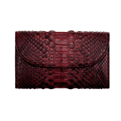 Lucia Mini Purse Python Burgundy Purses | La Portegna UK | Handmade Leather Goods | Vegetable Tanned Leather