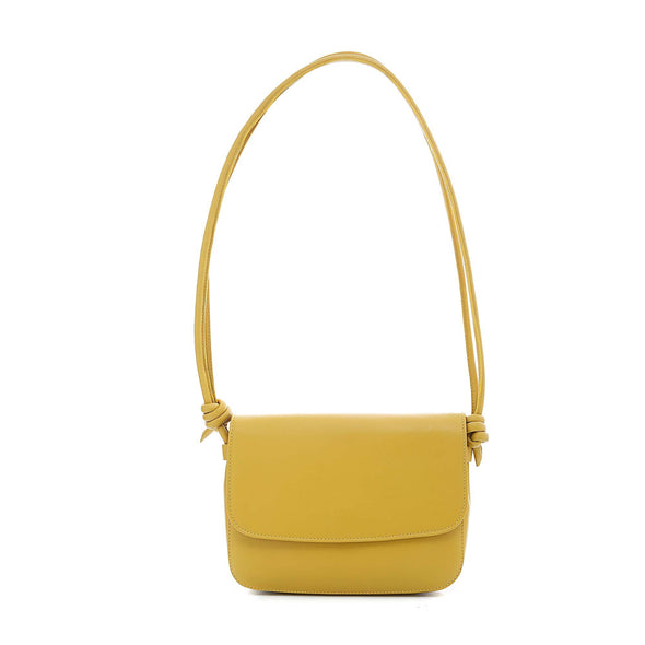 Leather Crossbody Bag | Lucia Mustard - Hanging