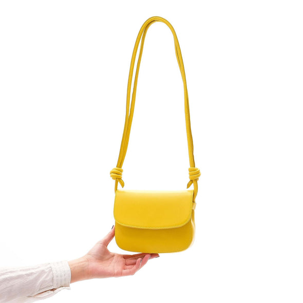 Leather Crossbody Bag | Lucia Mini Mustard - hanging