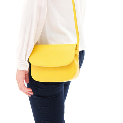 Leather Crossbody Bag | Lucia Mini Mustard - Style