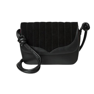 Lucia Papillon Black Shoulder Bags | La Portegna UK | Handmade Leather Goods | Vegetable Tanned Leather
