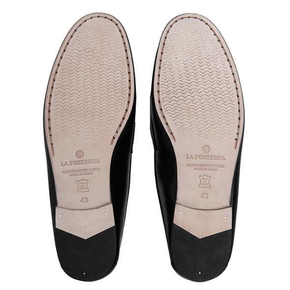 Moccasin Slippers | Mens Shoes | Marco Black - Leather Sole Shoes