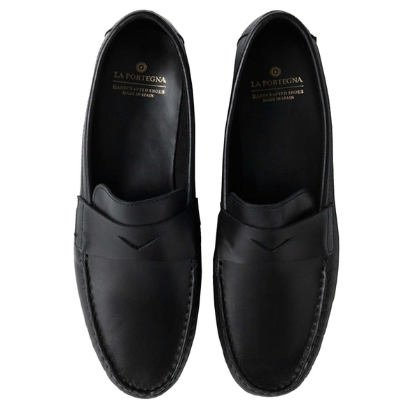 Marco Black Moccasins | La Portegna UK | Handmade Leather Goods | Vegetable Tanned Leather