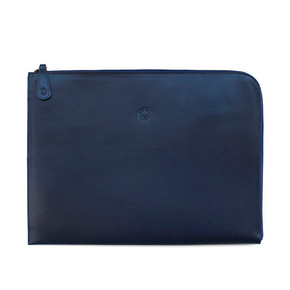 Mendocino Portfolio Navy | Portfolio Cases UK | La Portegna UK | Handmade Leather Goods | Vegetable Tanned Leather